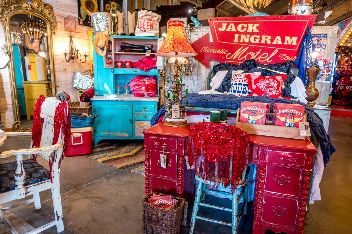 Displays of colorful home decor for sale at Junk Gypsy