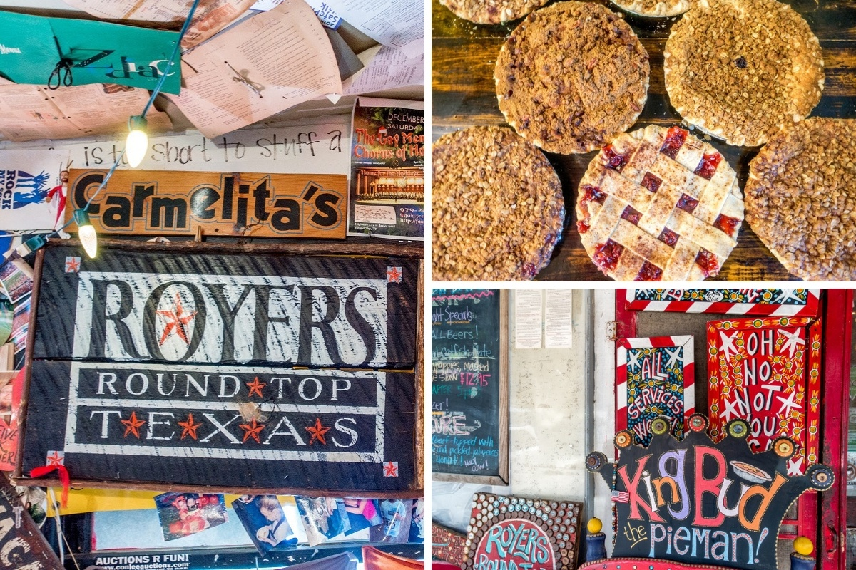 Pies and signs for Royers Round Top Cafe