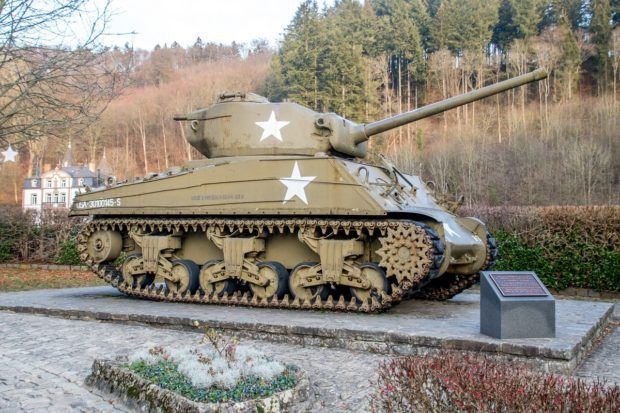 Sherman tank from the Battle of the Bulge in front of Clervaux Castle, one of the interesting Luxembourg places to visit