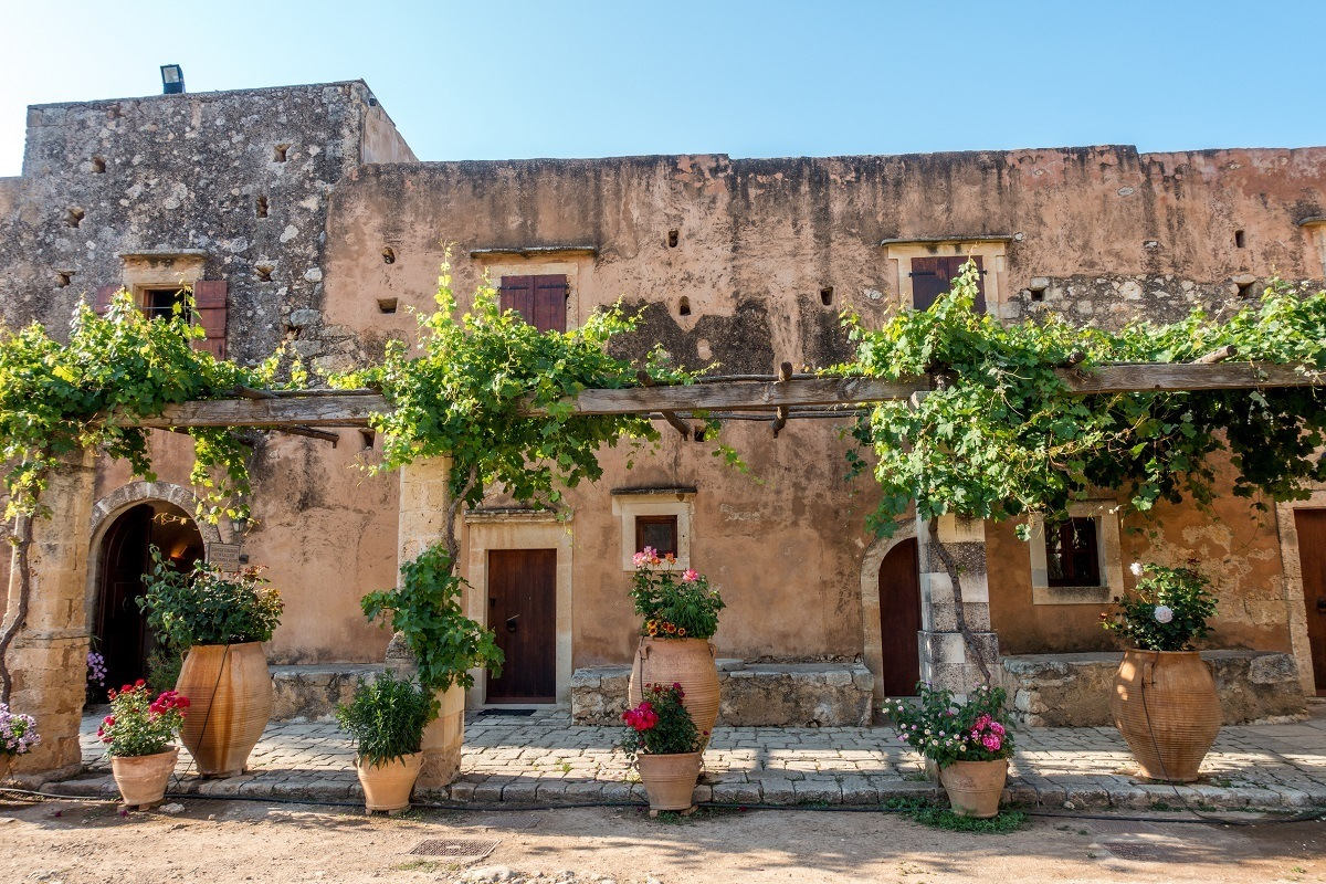The inner courtyard of Arkadi Monastery with flower pots