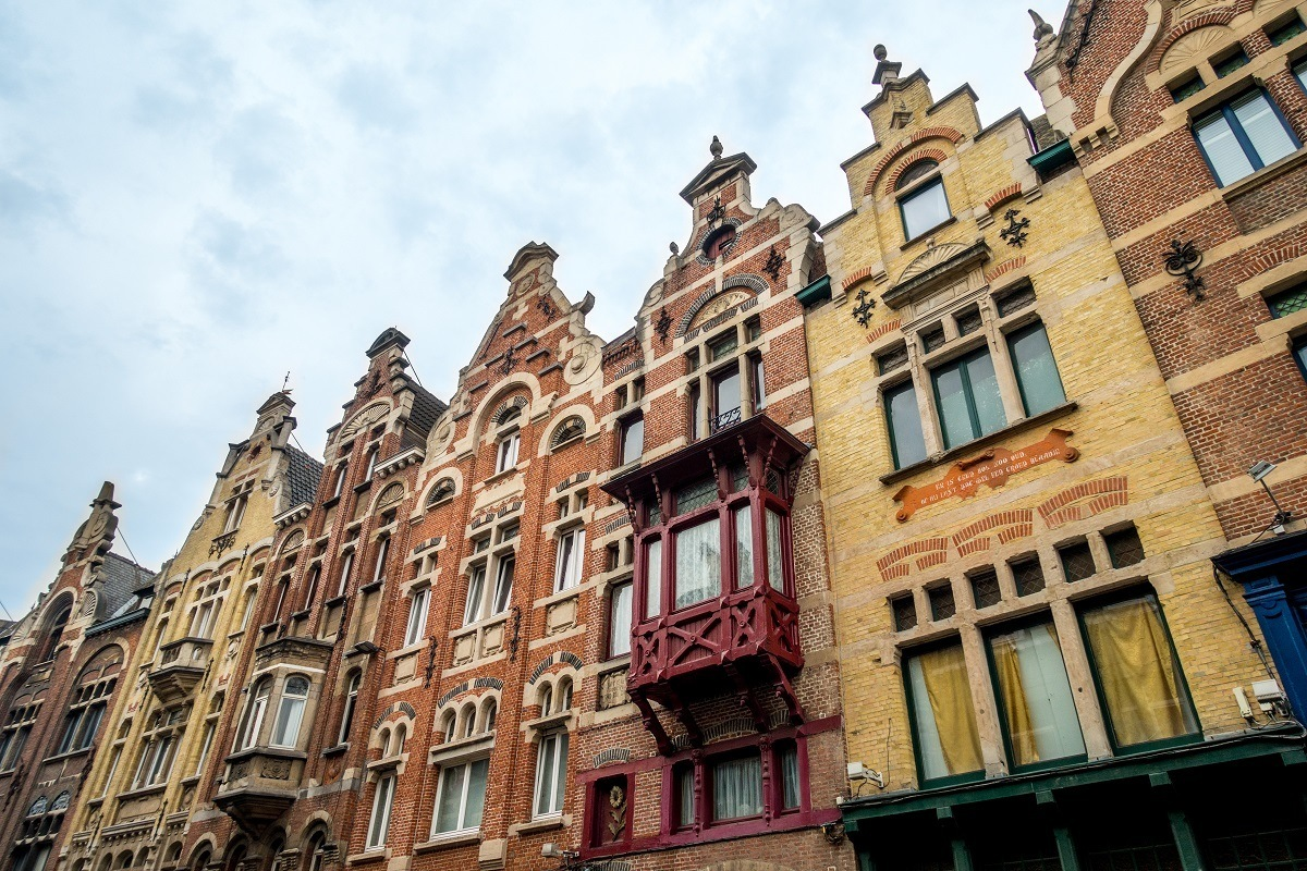 Buildings with step gabeled roofs on Baudelostraat in Ghent