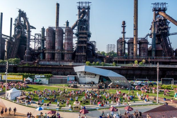 The Steel Stacks during Musikfest.  This is also the location of the Steel Stacks Movies.