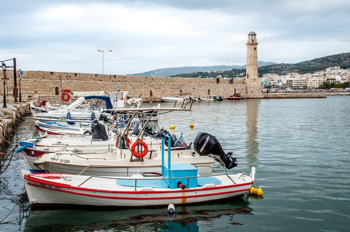 Boats in the Venetian harbor in Rethymno, Crete