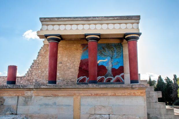 The Bull Chamber at the ancient Minoan Palace of Knossos is one of the best places in Crete for history lovers