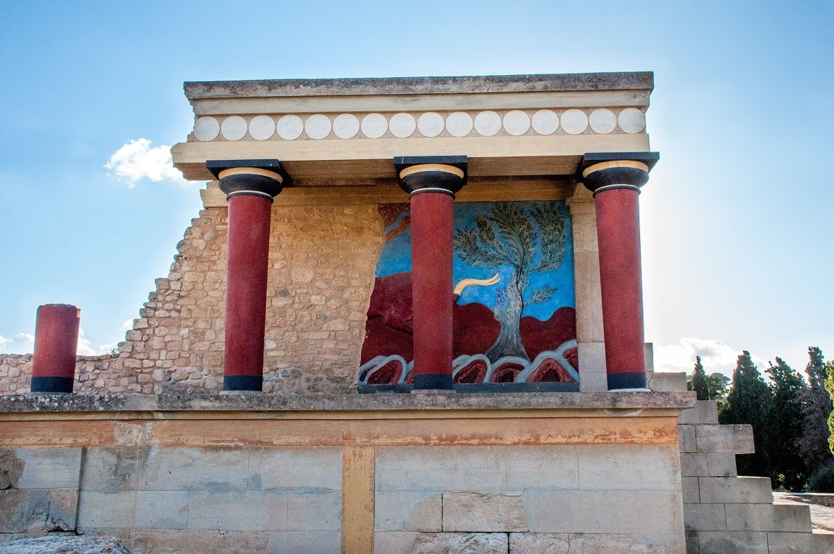 Painted columns and ruins of Bull Chamber at Palace of Knossos