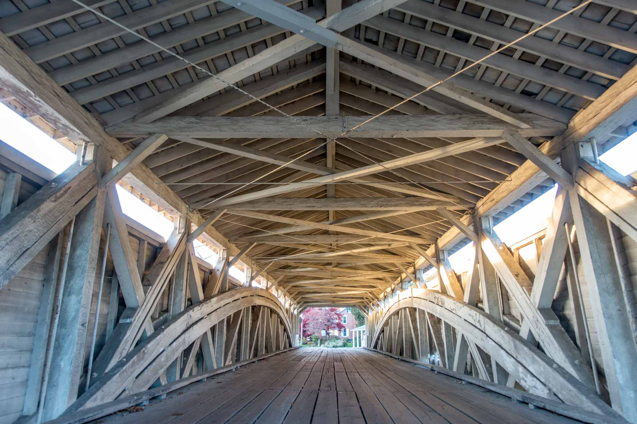 The interior of one of the old covered bridges in the Lehigh Valley near Allentown