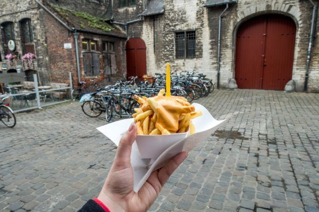 Try the frites stand near the Butchers' Hall during your one day in Ghent Belgium