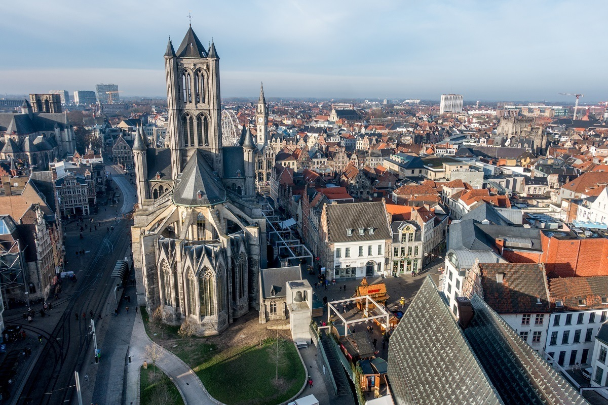 Seeing the view of St. Nicholas Church and downtown from the belfry is one of the fun things to do in Ghent