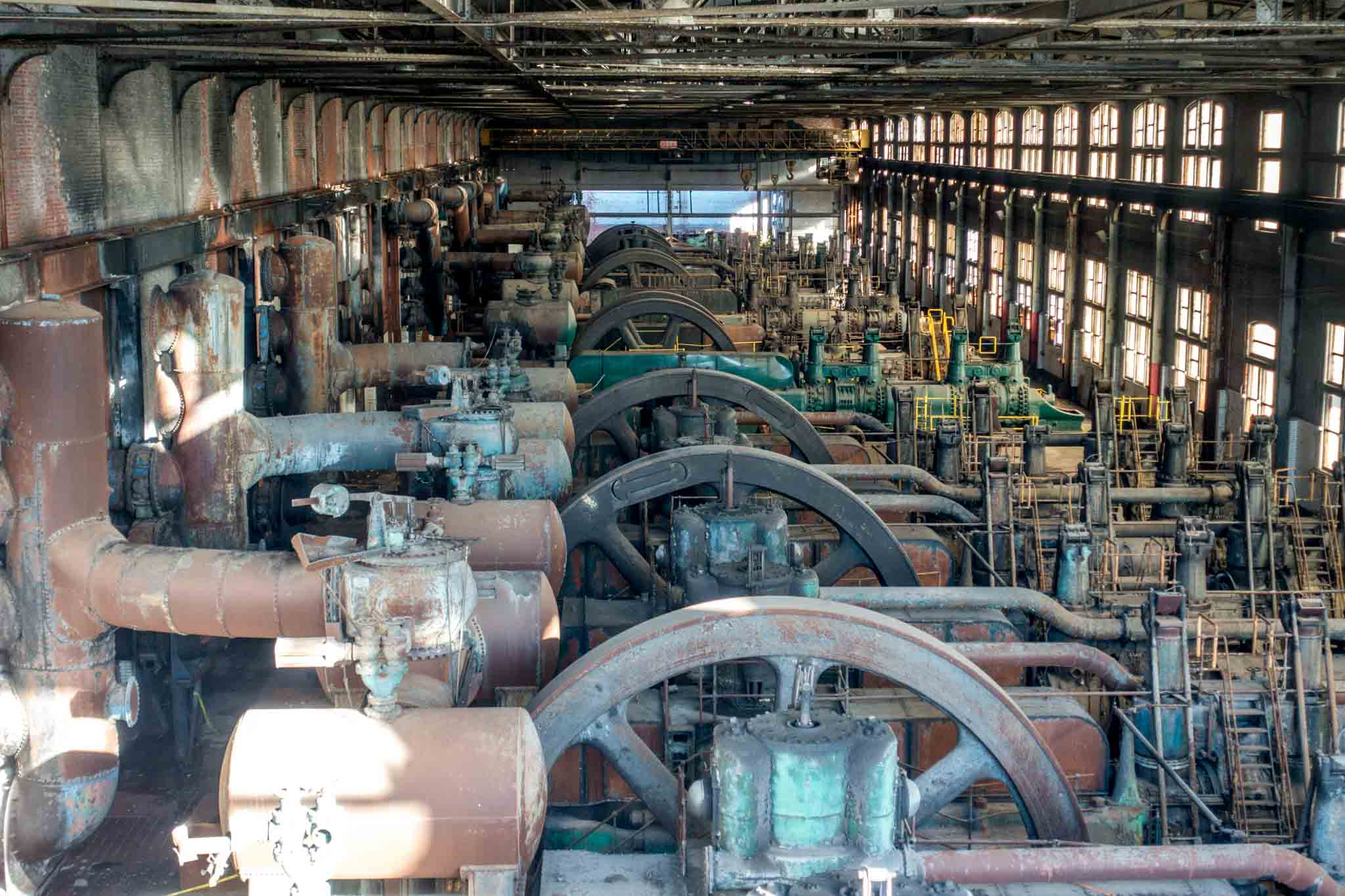 The massive blowing engines at the Steel Stacks in Bethlehem PA