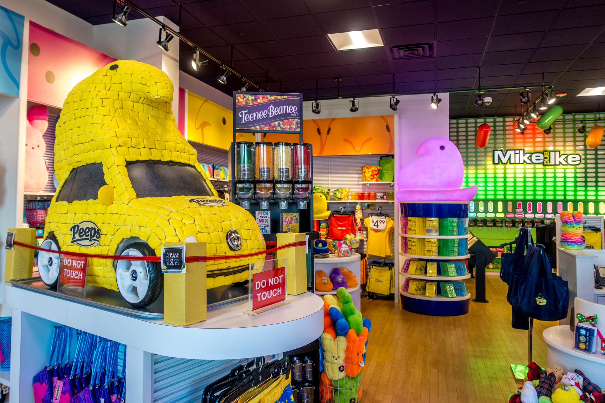 Bright yellow car in the Peeps store in the Lehigh Valley