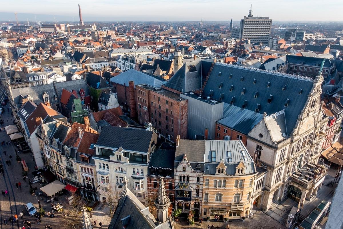 Overhead view of Ghent, Belgium, skyline