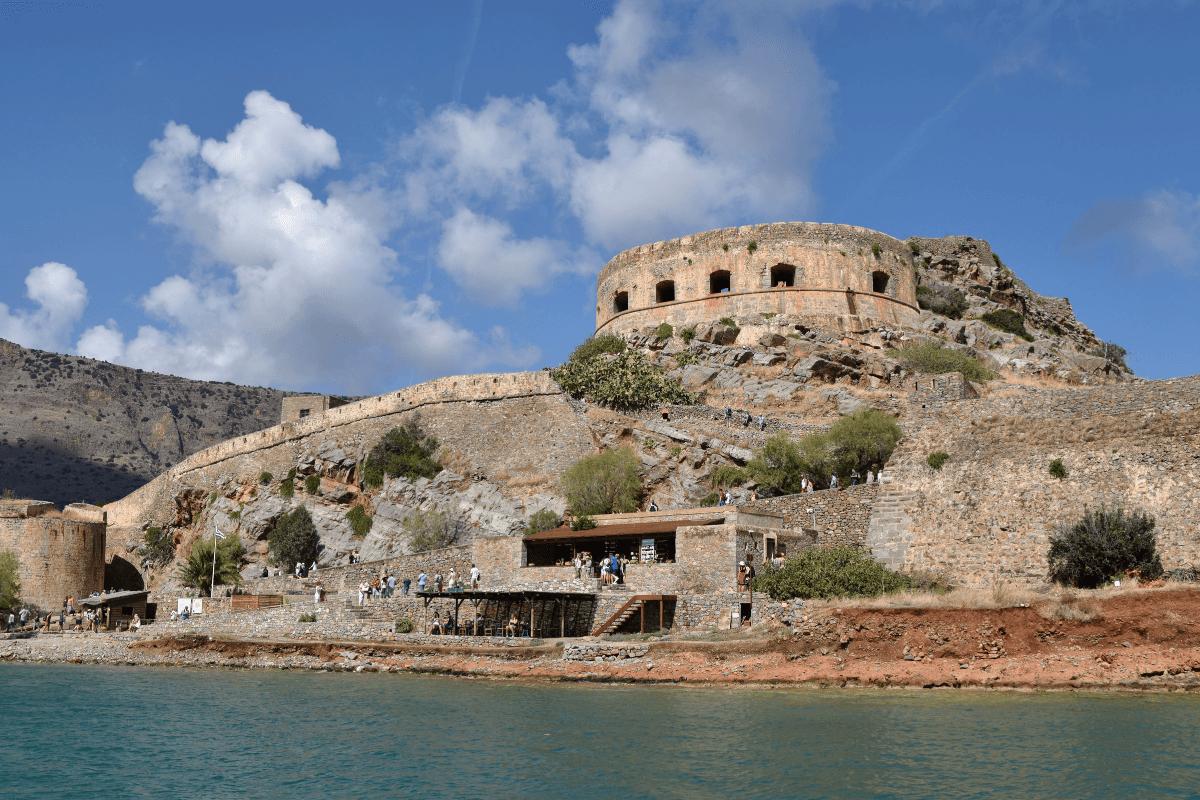 Stone fortress on hill on Spinalonga Island
