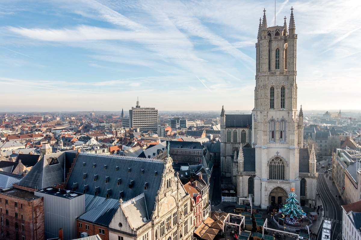 Ghent skyline view including rooftops and St. Bavo's Cathedral belltower