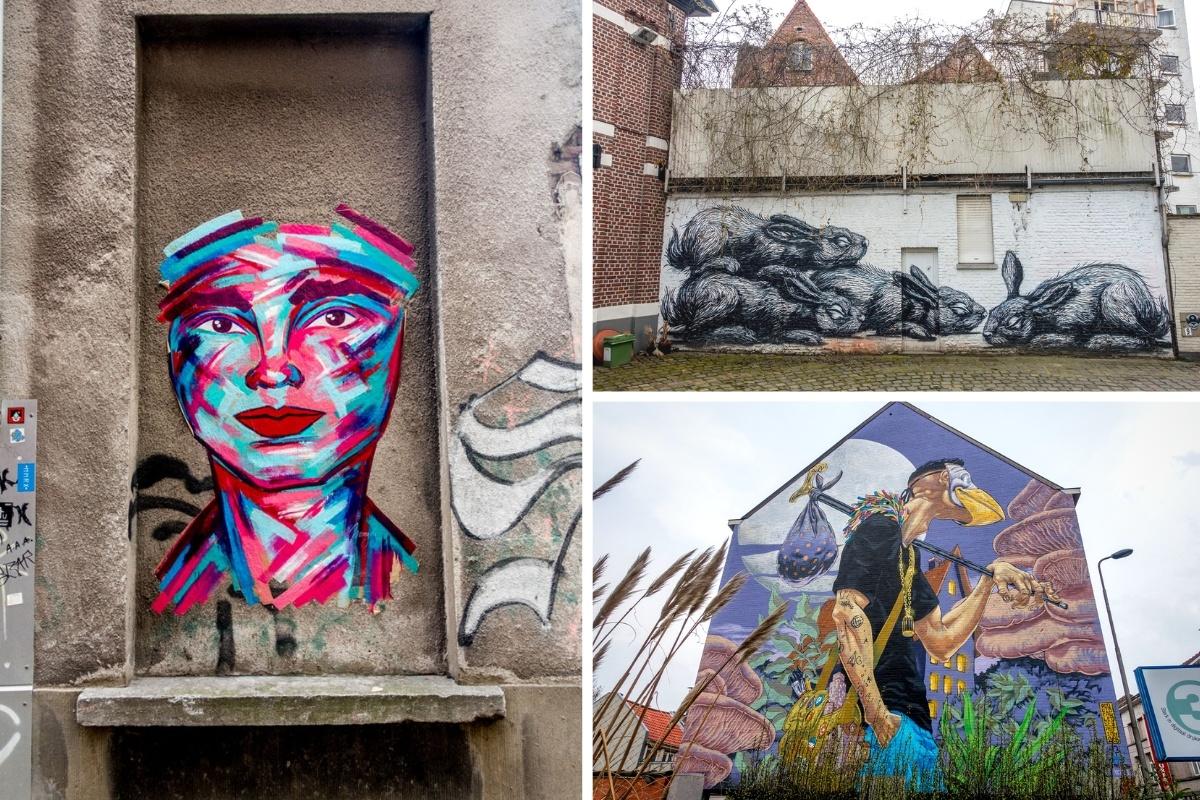 Street art murals with people and animals in Gent Belgium
