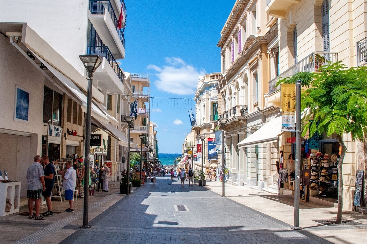 Street lined with shops in the capital, Heraklion