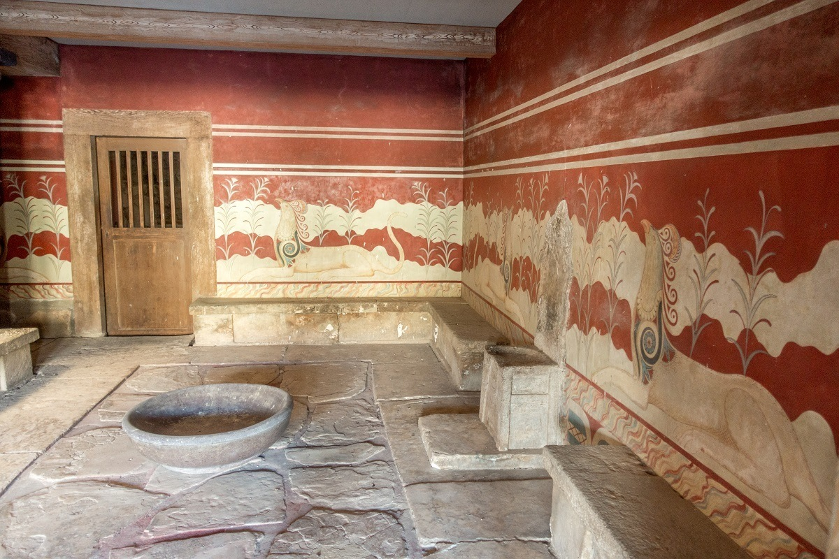 Room with stone chair, the throne room at the Minoan Palace of Knossos