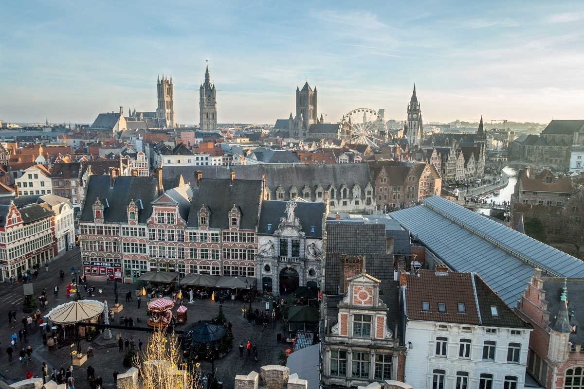 The view of Ghent city center from Gravensteen is a highlight of Ghent sightseeing