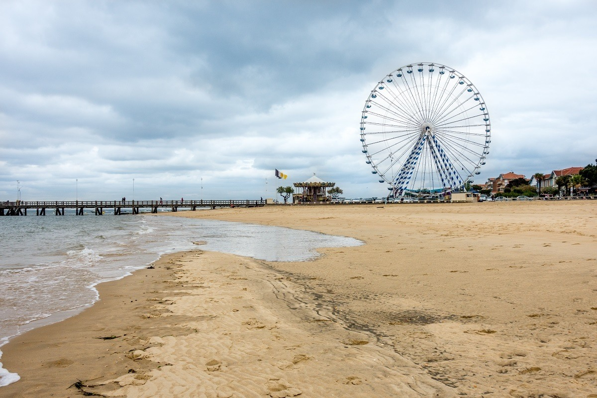 Ferris wheel and pier on the beach at Arcachon France
