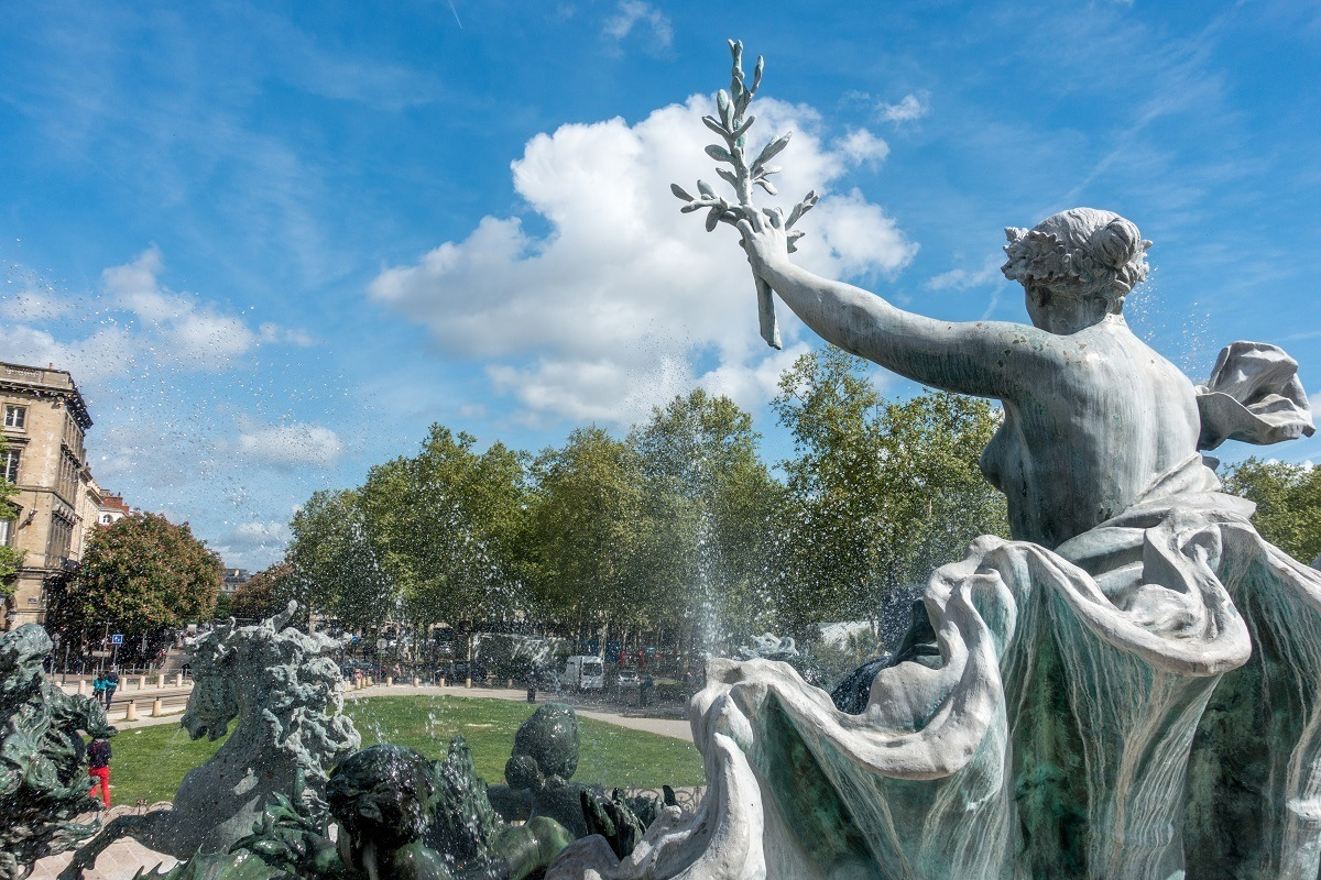 Close up of the statues of the Girondins Monument in Place des Quinconces, a place is to see Bordeaux in a day