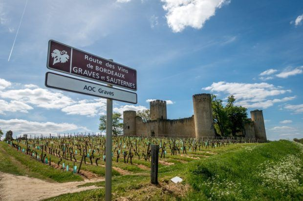 Sign on the Routs des Vins pointing the way to Graves and Sauternes vineyards in Bordeaux France
