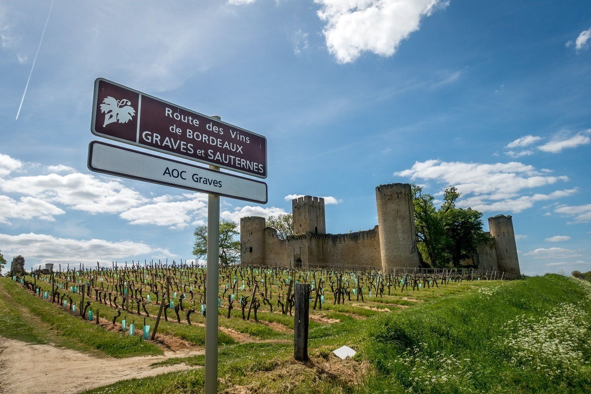 Road sign for the Routs des Vins near castle ruins and a vineyard