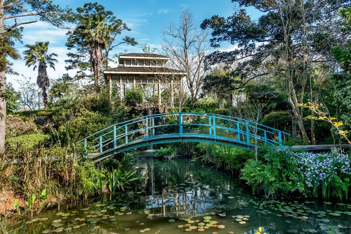 Japanese tea house, koi pond, and blue bridge at Houmas House