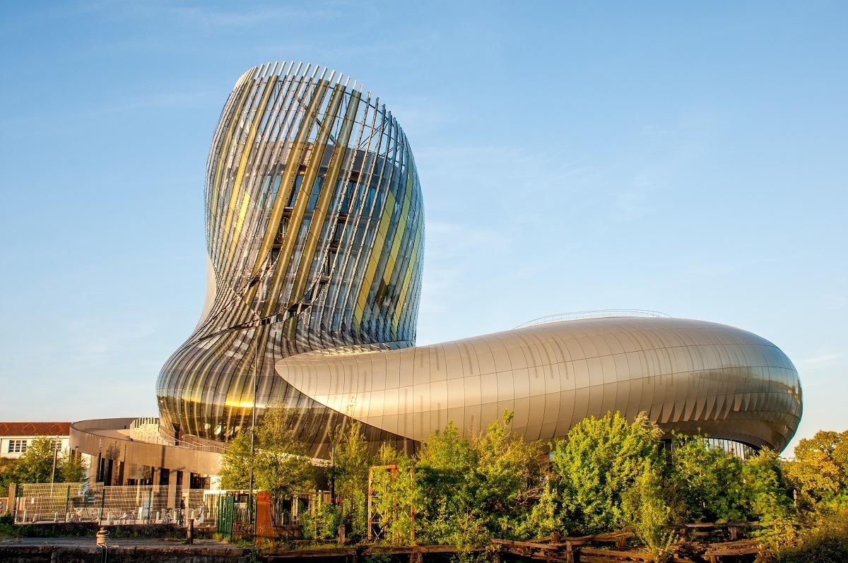 Golden, boot-shaped building known as La Cité du Vin wine museum