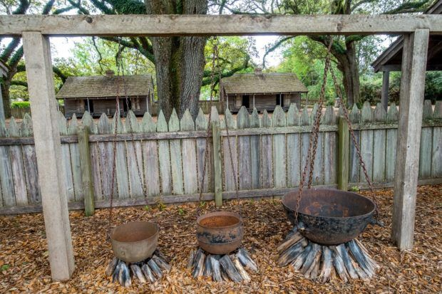 Provisions were meager and work was hard on Louisiana slave plantations. At Oak Alley, enslaved people only had rudimentary cooking facilities.