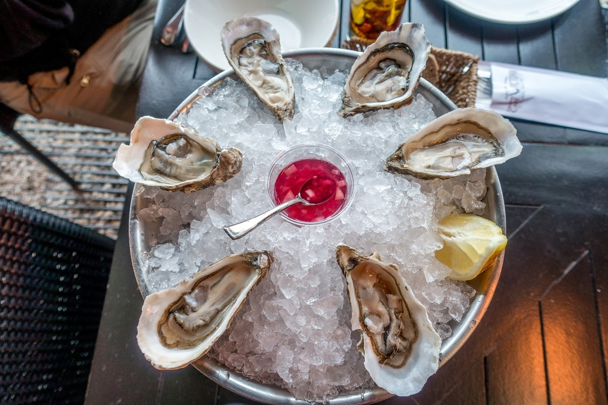 Oysters on the half shell on an ice platter in Arcachon France