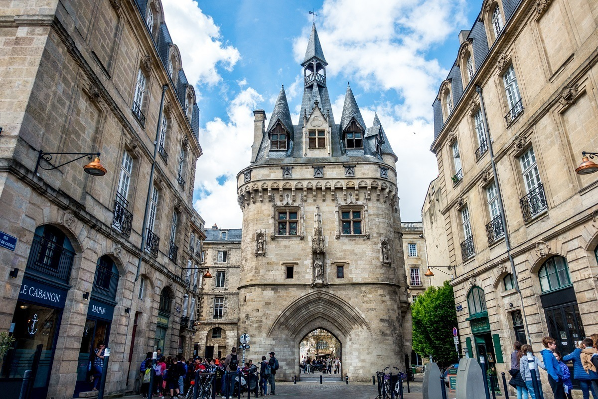 The castle-like Port Cailhau, a medieval stone city gate in Bordeaux