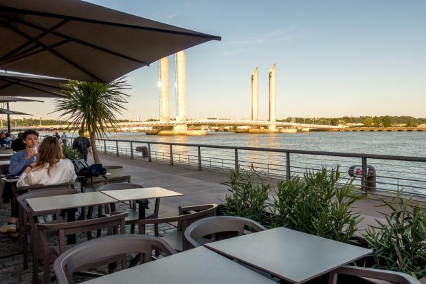 Quai des Marques is a great place to shop or have a meal by the river in Bordeaux, France