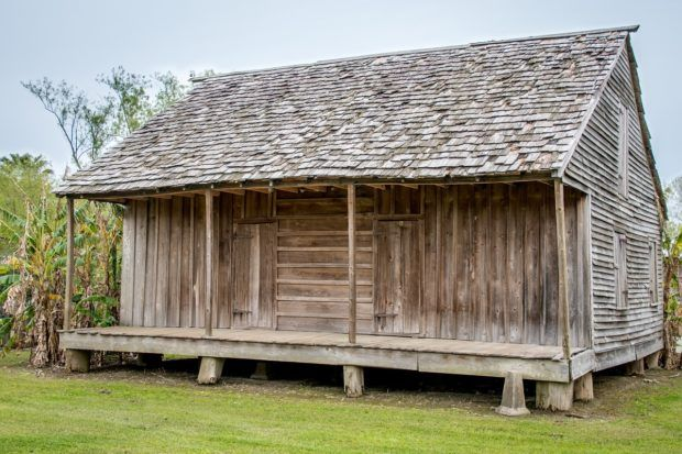 Exterior of a wooden slave cabin at Whitney Plantation near New Orleans