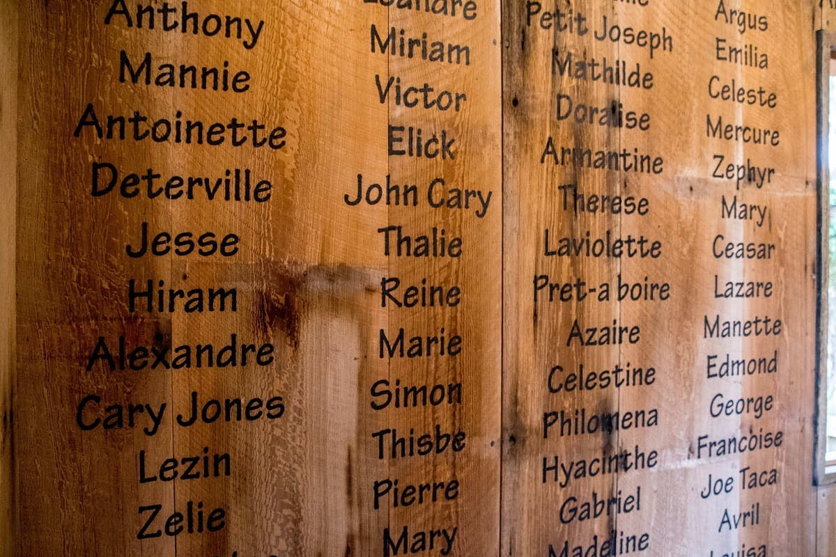 Names of enslaved people who lived and worked at Oak Alley written on wall
