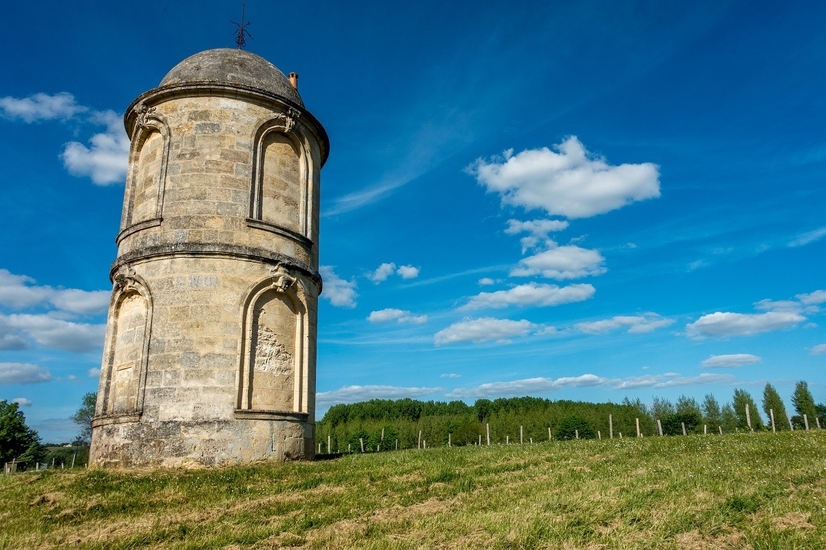 Stone tower in a vineyard at Chateau de Portets