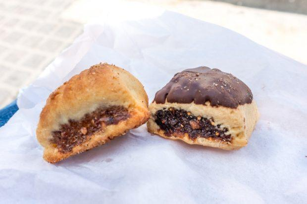 Imqaret are Maltese desserts with a pastry crust and a date filling. They can be plain or topped with chocolate.