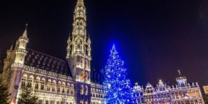 The nightly light show in Grand Place is a highlight of the Brussels Christmas market in Belgium