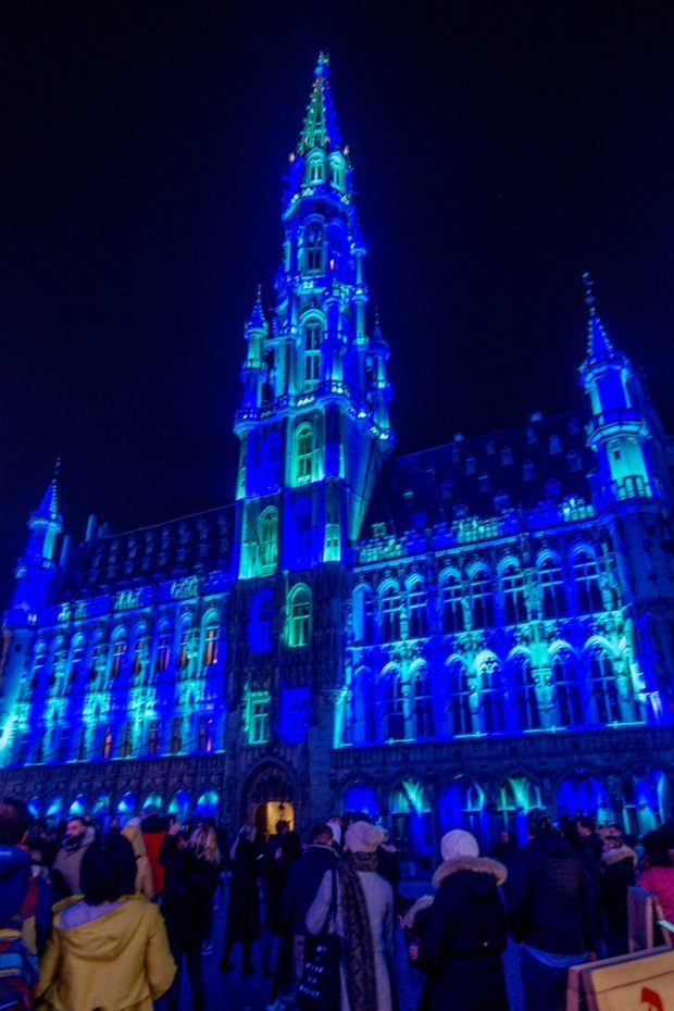 Brussels Town Hall is lit up bright blue