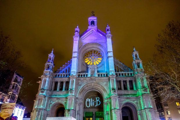 Church of Saint Catherine lit up for the light show during the Brussels Xmas market