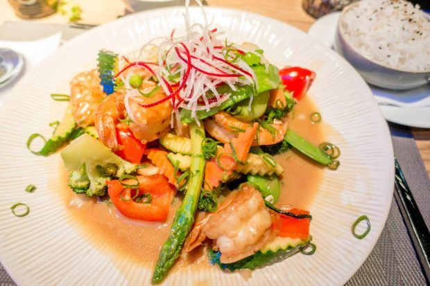 Shrimp and vegetable Asian dish