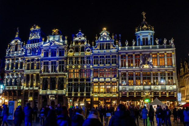 Seeing the nightly light show in Grand Place is one of the top things to do in Brussels at Christmas