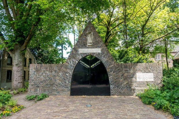 Triangular Holocaust Memorial at the gate of the old Jewish Cemetery in Gouda Netherlands