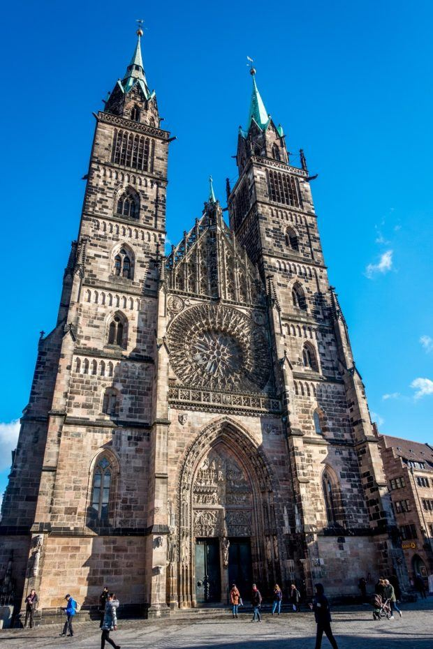St Lorenzkirche (St Lawrence Church), one of the oldest churches in Nuremberg, has two towers and a magnificent rose stained glass window