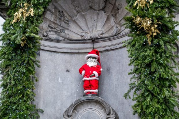 At Christmas in Brussels, you may see Mannaken Pis dressed up as Santa