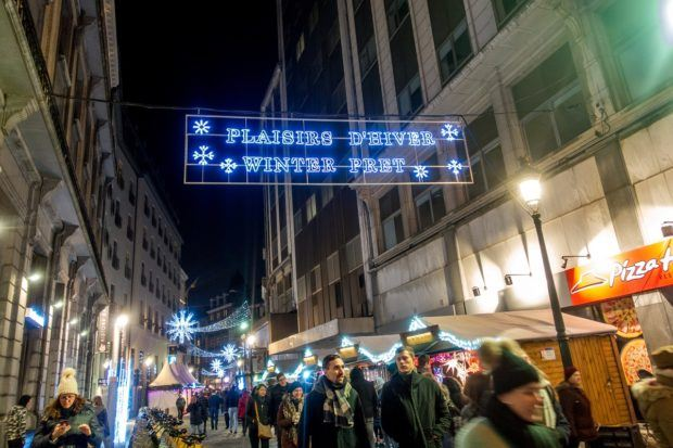 During Brussels in winter, over 100 streets in the city center are lit up at night