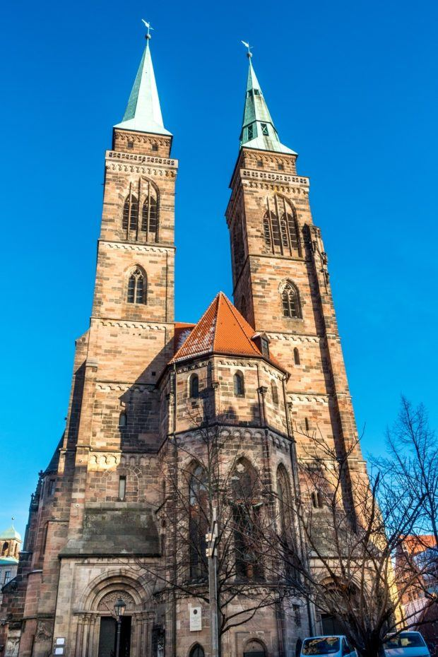 St. Sebald Church, one of the top places to see in Nuremberg, has two soaring towers
