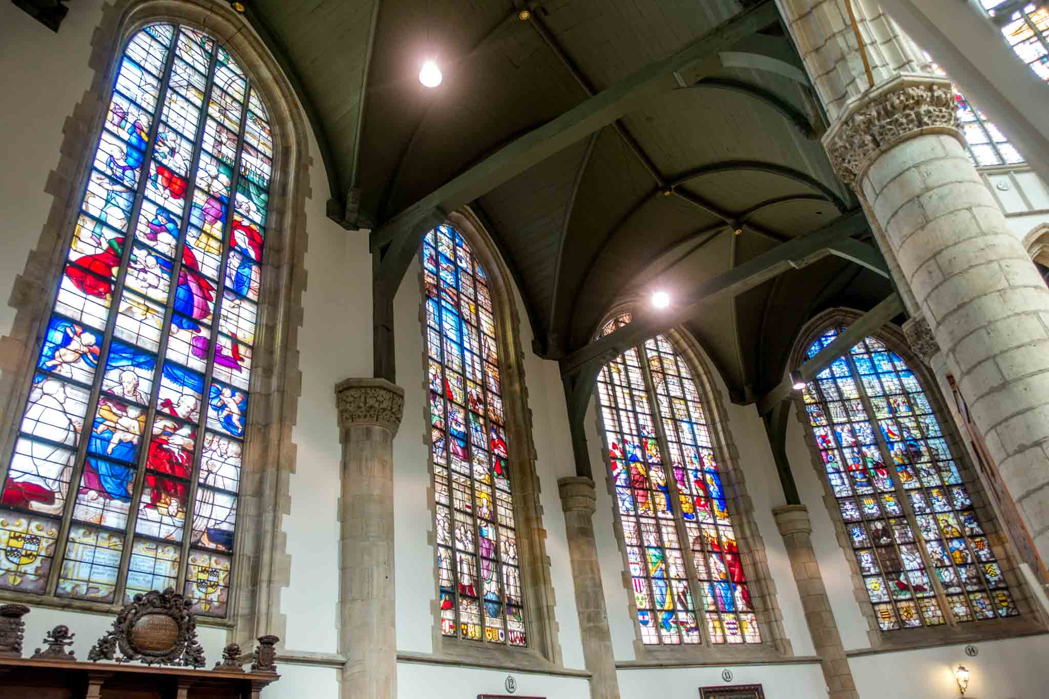 The beautiful stained glass windows of Sint Janskerk in Gouda have landed the church on the list of top Dutch heritage sites| Sint Jan Gouda, Netherlands