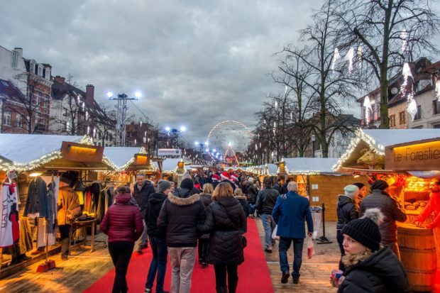 The festive atmosphere and rows of vendors make Brussels one of the best Christmas markets in Belgium
