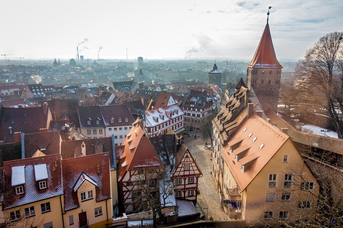 View of the orange roofs of old town Nuremberg from the Imperial Castle