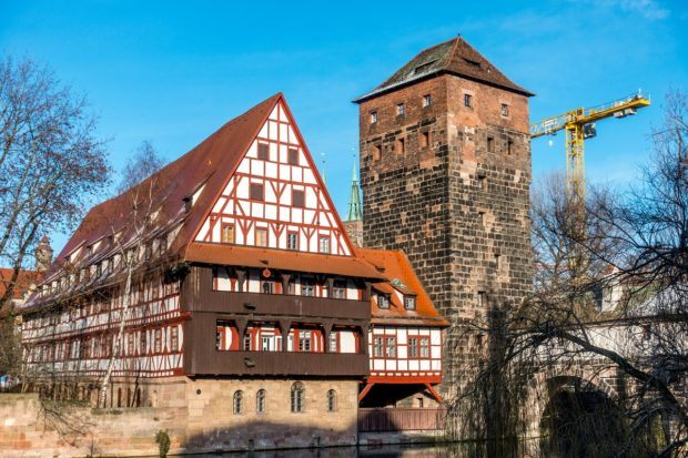 The Weinstadel is a 600-year-old red building that is the largest half-timbered building in Germany