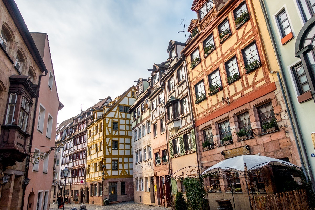 Weissgerbergasse is a collection of medieval half-timbered houses with bright facades that are among the best preserved in Nuremberg old town